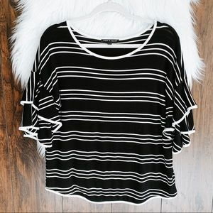 Cable & Gauge Striped Double Ruffle Sleeve Top M
